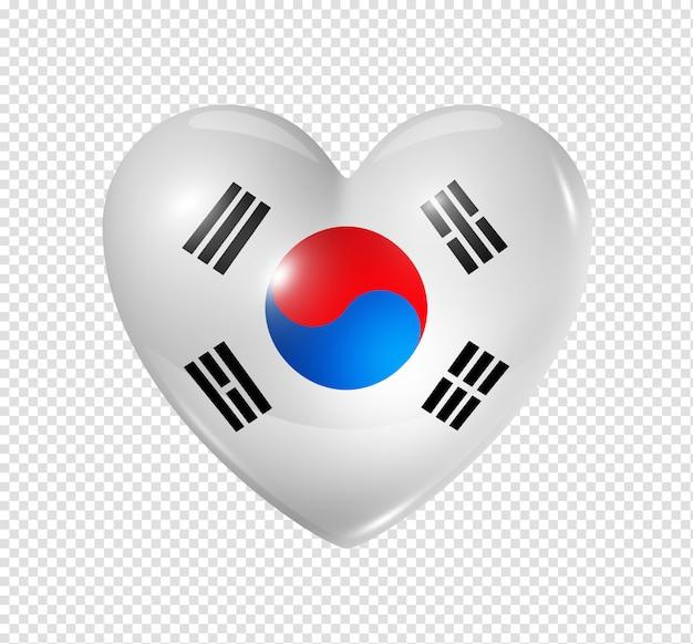 Amo a coreia do sul, ícone de bandeira do coração