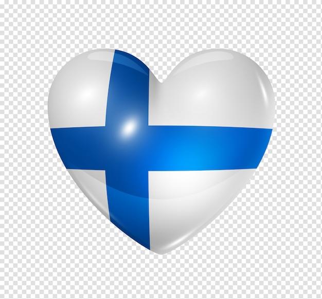 Amo a finlândia, ícone de bandeira do coração