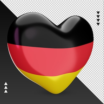 Amo a lareira da bandeira da alemanha, renderização em 3d, vista esquerda