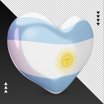 Amo a lareira da bandeira da argentina, renderização em 3d, vista esquerda