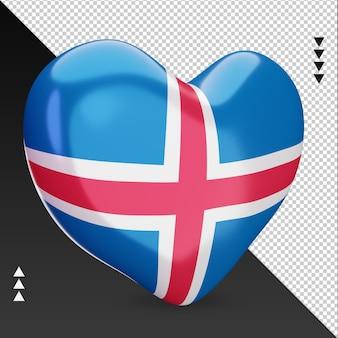 Amo a lareira da bandeira da islândia, renderização em 3d, vista esquerda