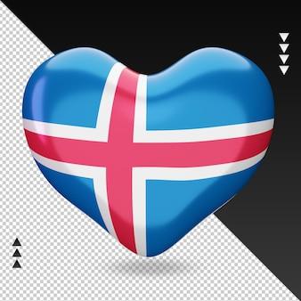 Amo a lareira da bandeira da islândia, renderização em 3d, vista frontal