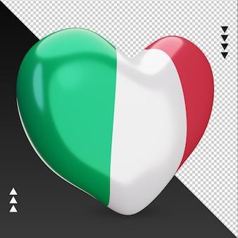Amo a lareira da bandeira da itália, renderização em 3d, vista esquerda