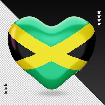 Amo a lareira da bandeira da jamaica, renderização em 3d, vista frontal