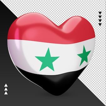 Amo a lareira da bandeira da síria, renderização em 3d, vista esquerda