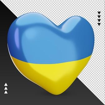 Amo a lareira da bandeira da ucrânia, renderização em 3d, vista esquerda