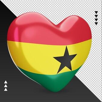 Amo a lareira da bandeira de gana, renderização em 3d, vista esquerda