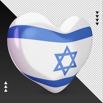 Amo a lareira da bandeira de israel, renderização em 3d, vista esquerda