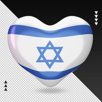 Amo a lareira da bandeira de israel, renderização em 3d, vista frontal