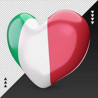 Amo a lareira da bandeira de mônaco, renderização em 3d, vista direita