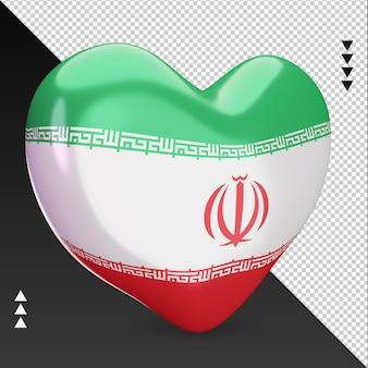 Amo a lareira da bandeira do irã, renderização em 3d, vista esquerda