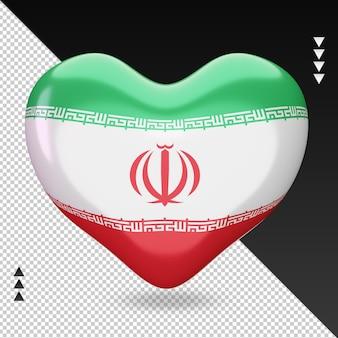 Amo a lareira da bandeira do irã, renderização em 3d, vista frontal