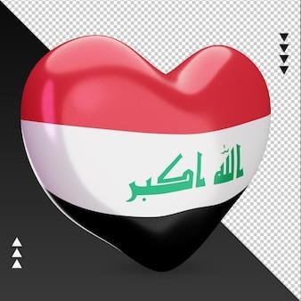 Amo a lareira da bandeira do iraque, renderização em 3d, vista esquerda