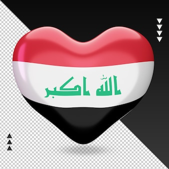 Amo a lareira da bandeira do iraque, renderização em 3d, vista frontal