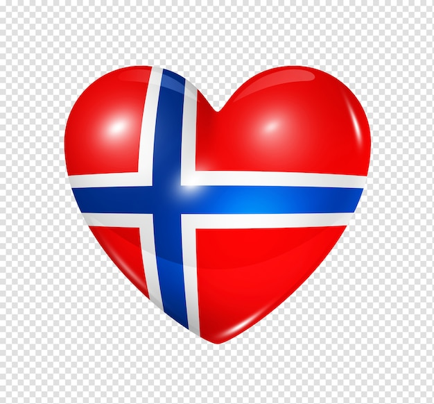 Amo a noruega, ícone de bandeira do coração