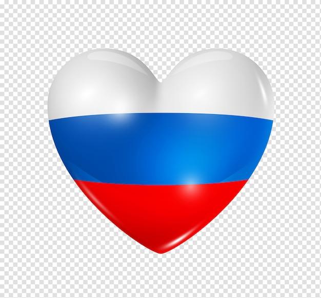 Amo a rússia, ícone de bandeira do coração
