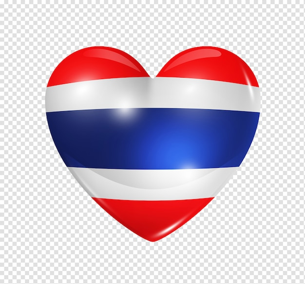 Amo a tailândia, símbolo da bandeira do coração