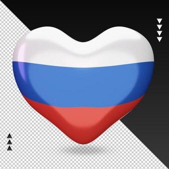 Amo a vista frontal da renderização em 3d da lareira da bandeira russa Psd Premium