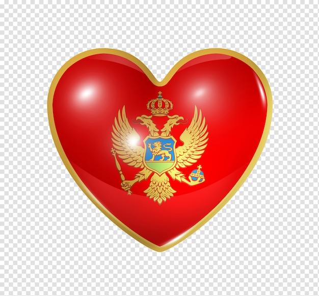 Amo montenegro, o símbolo de um coração 3d com desenho de bandeira isolado