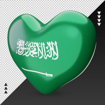 Amo o coração da bandeira da arábia saudita, renderização em 3d, vista correta