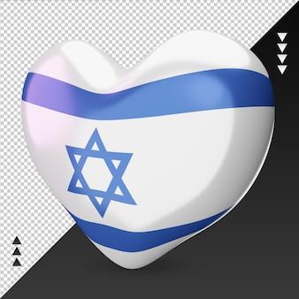 Amo o coração da bandeira da moldávia, renderização em 3d, vista correta
