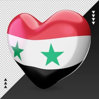 Amo o coração da bandeira da síria, renderização em 3d, vista correta