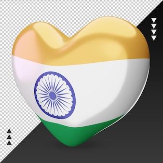 Amo o coração da bandeira das ilhas marshall, renderização em 3d, vista correta