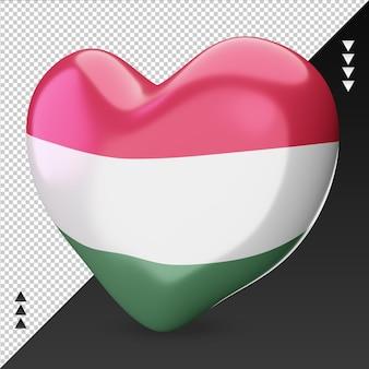 Amo o coração da bandeira do mali, renderização em 3d, vista direita