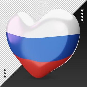Amo o coração da bandeira russa, renderização em 3d, vista direita