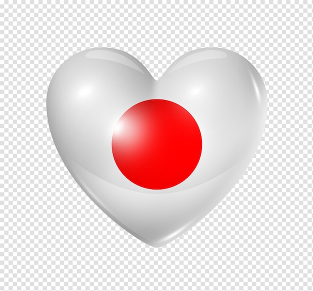 Amo o japão, ícone de bandeira do coração