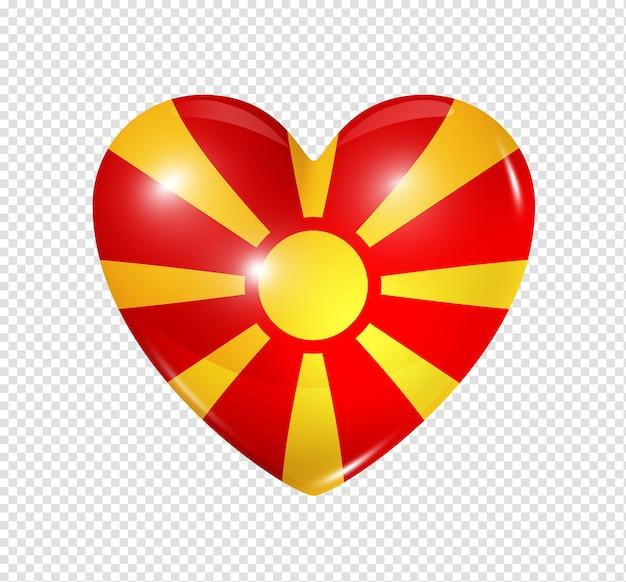 Amo o símbolo da macedônia de um coração 3d com desenho de bandeira isolado