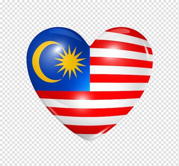 Amo o símbolo da malásia de um coração 3d com desenho de bandeira isolado