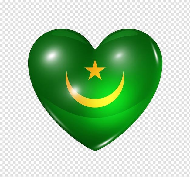 Amo o símbolo da mauritânia de um coração 3d com desenho de bandeira isolado