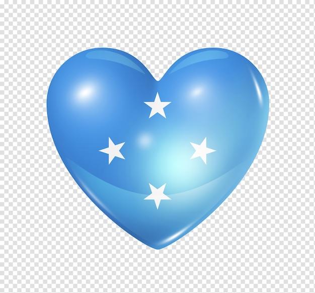 Amo o símbolo da micronésia de um coração 3d com desenho de bandeira isolado