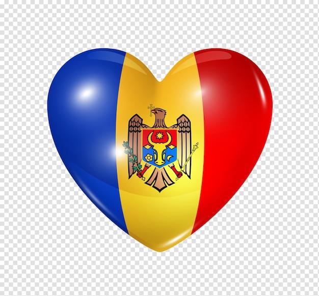 Amo o símbolo da moldávia de um coração 3d com desenho de bandeira isolado