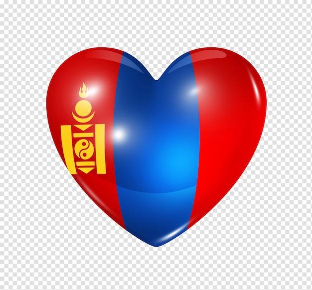 Amo o símbolo da mongólia de um coração 3d com desenho de bandeira isolado
