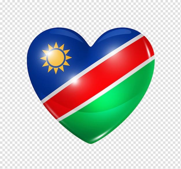 Amo o símbolo da namíbia de um coração 3d com desenho de bandeira isolado
