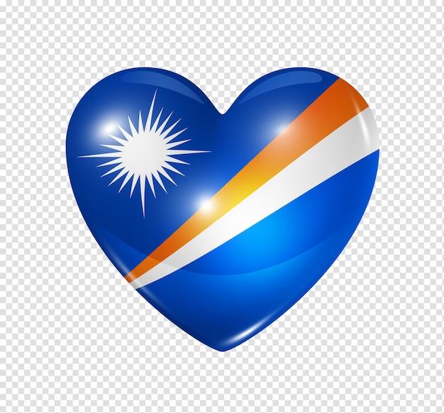 Amo o símbolo das ilhas marshall de um coração 3d com desenho de bandeira isolado