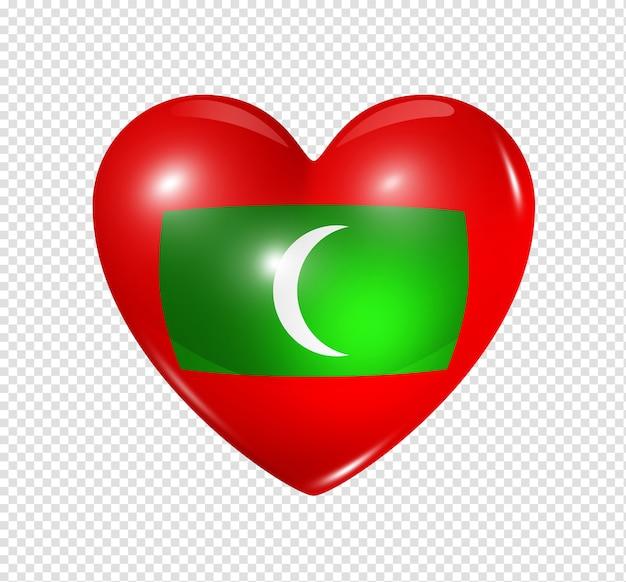 Amo o símbolo das maldivas de um coração 3d com desenho de bandeira isolado