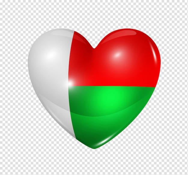 Amo o símbolo de madagascar de um coração 3d com desenho de bandeira isolado