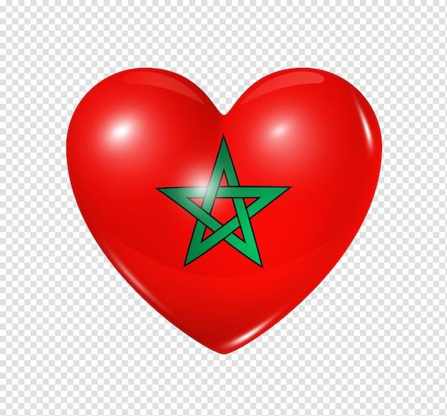 Amo o símbolo de marrocos de um coração 3d com desenho de bandeira isolado