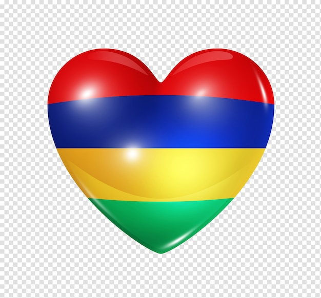 Amo o símbolo de maurício de um coração 3d com desenho de bandeira isolado