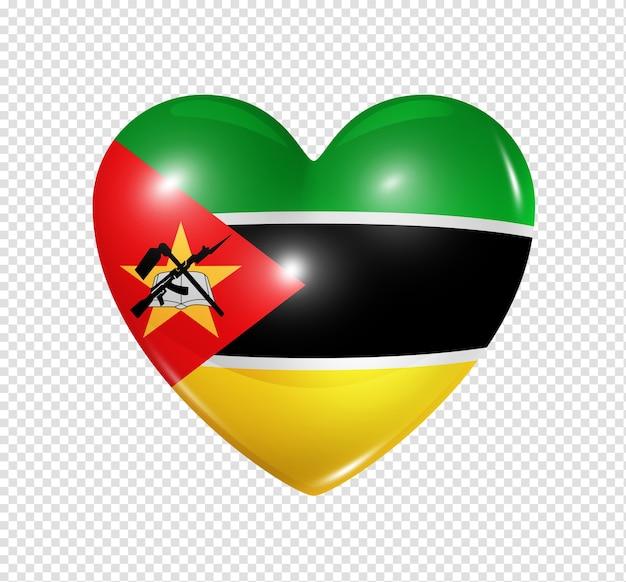 Amo o símbolo de moçambique de um coração 3d com desenho de bandeira isolado
