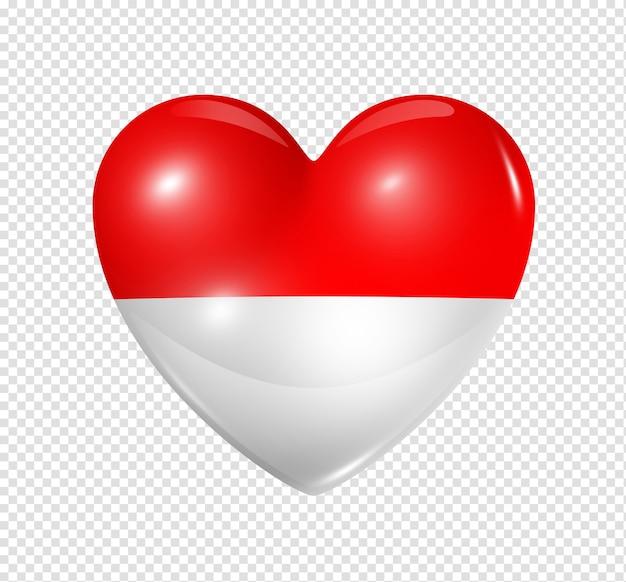 Amo o símbolo de mônaco de um coração 3d com desenho de bandeira isolado