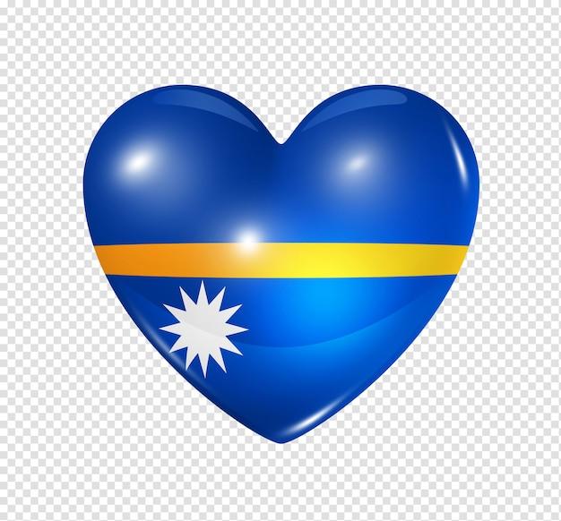 Amo o símbolo de nauru de um coração 3d com desenho de bandeira isolado