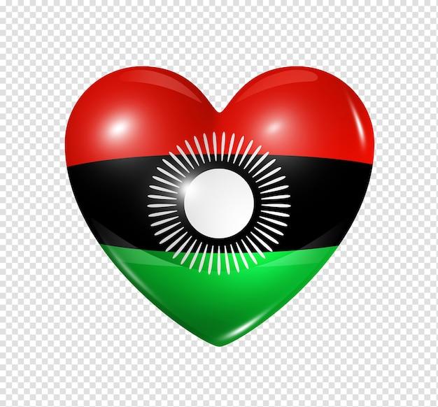 Amo o símbolo do malawi de um coração 3d com desenho de bandeira isolado
