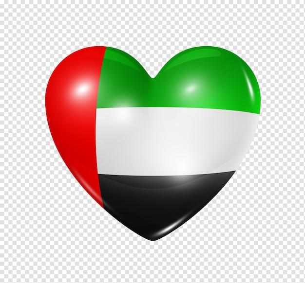 Amo o símbolo dos emirados árabes unidos ícone de bandeira de coração 3d isolado no branco com traçado de recorte