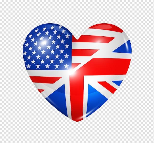 Amo os eua e o reino unido, símbolo 3d ícone de bandeira de coração isolado no branco com traçado de recorte