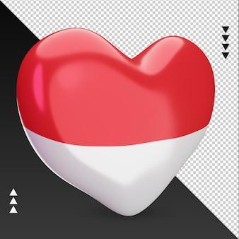 Amor, bandeira da indonésia, coração, renderização em 3d, vista esquerda