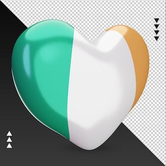 Amor, bandeira da irlanda, coração, renderização em 3d, vista esquerda